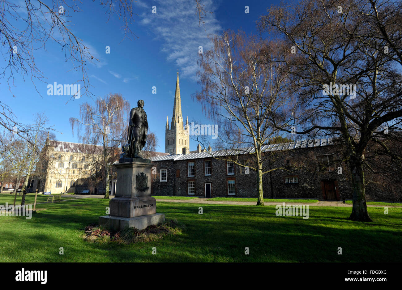 Norwich Cathedral and statue in the grounds dedicated to the Duke of Wellington, Norfolk, UK. - Stock Image