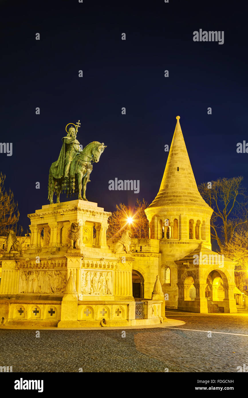 Fisherman bastion with St Istvan monument in Budapest, Hungary at night - Stock Image