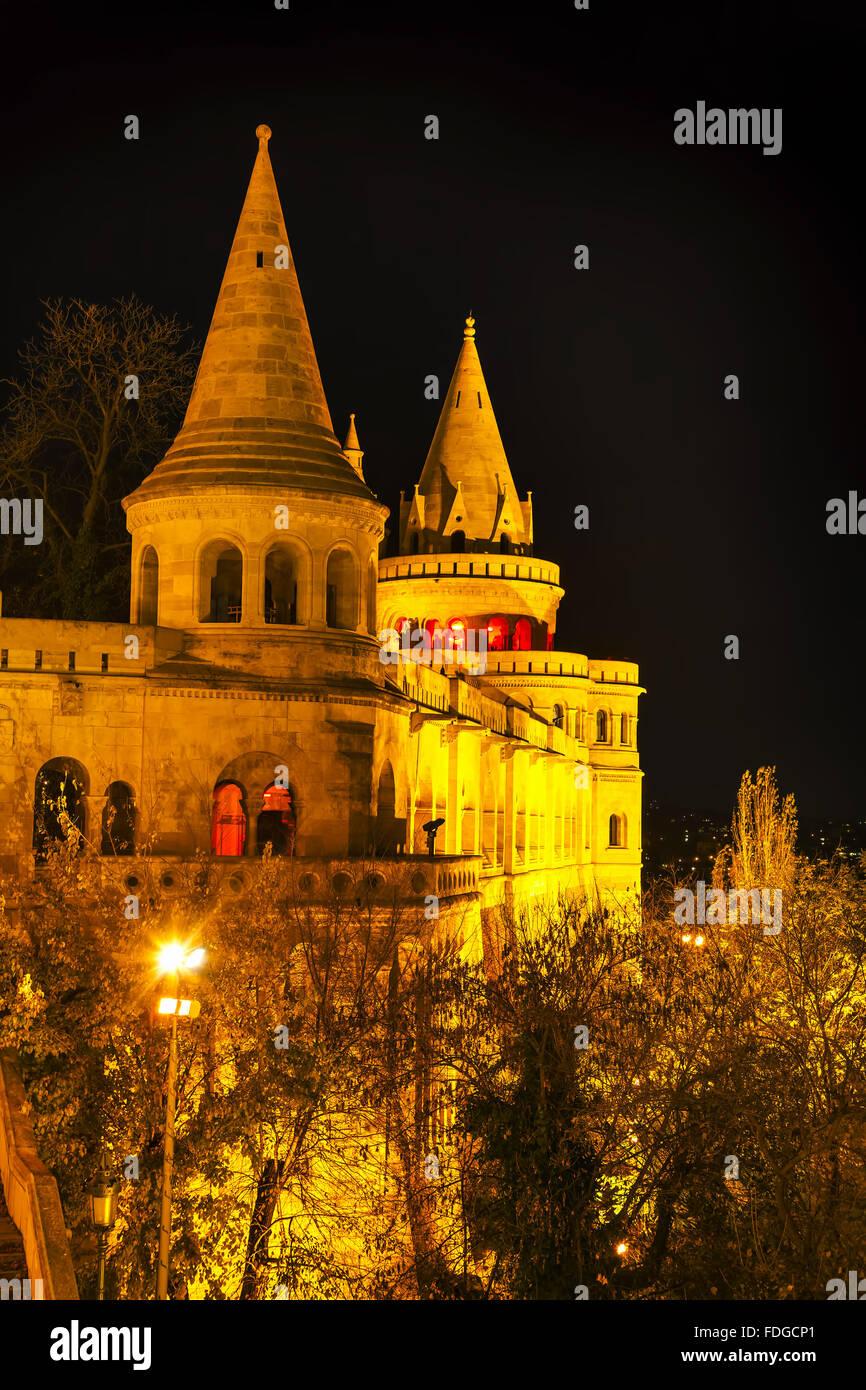 Fisherman bastion in Budapest, Hungary at night - Stock Image