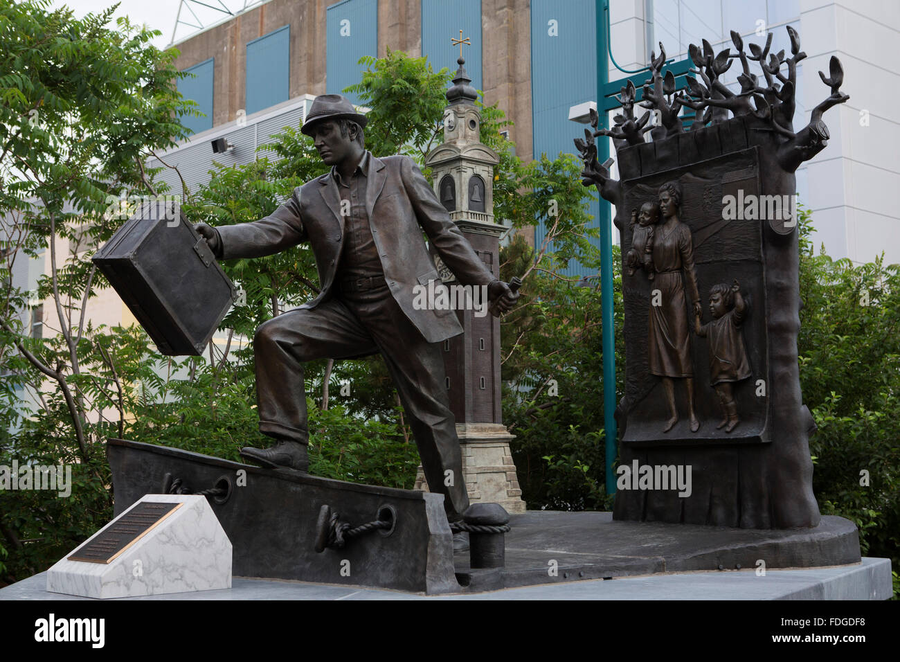 The statue 'The Emigrant' by Armando Barbon in Halifax, Canada. - Stock Image
