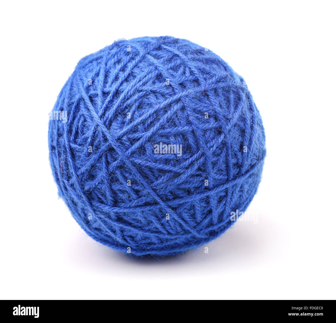 Clew of blue wool thread isolated on white - Stock Image