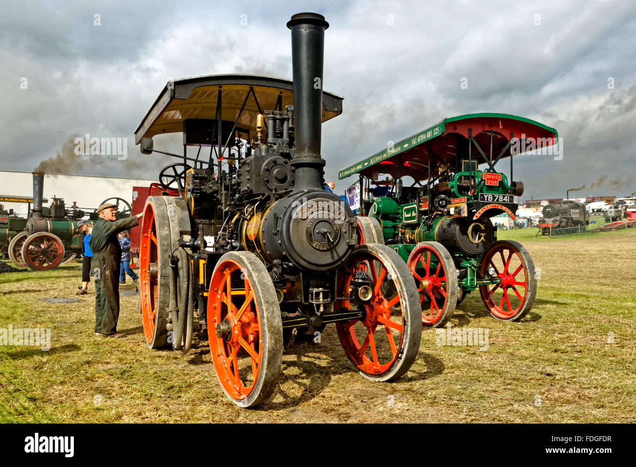 Steam Traction Engines at the 2011 Great Dorset Steam Fair at Tarrant Hinton, Dorset, United Kingdom. - Stock Image