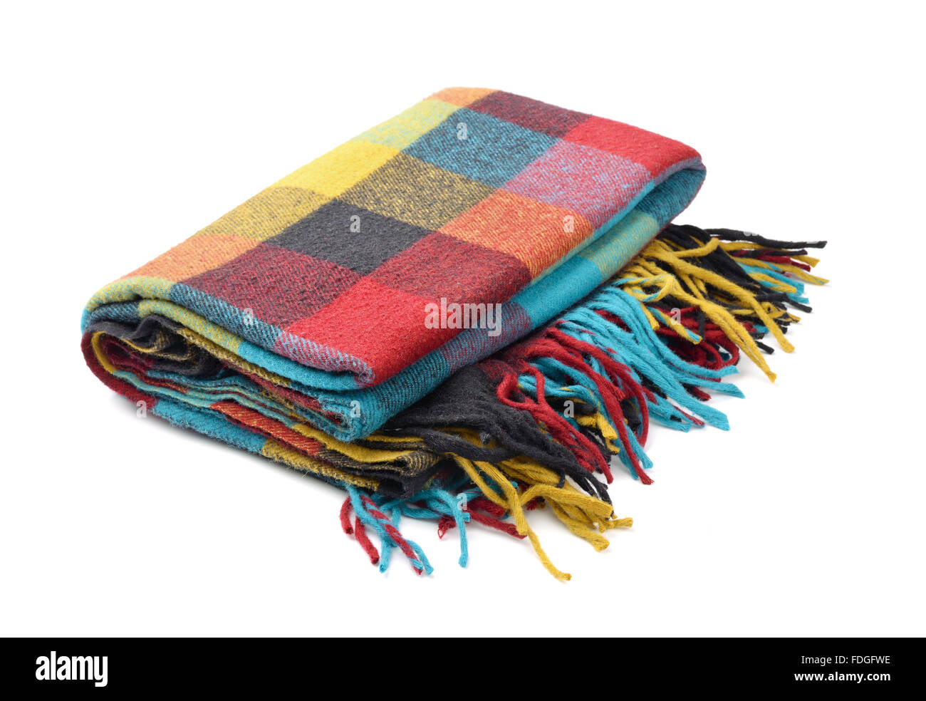 Plaid wool blanket isolated on white - Stock Image