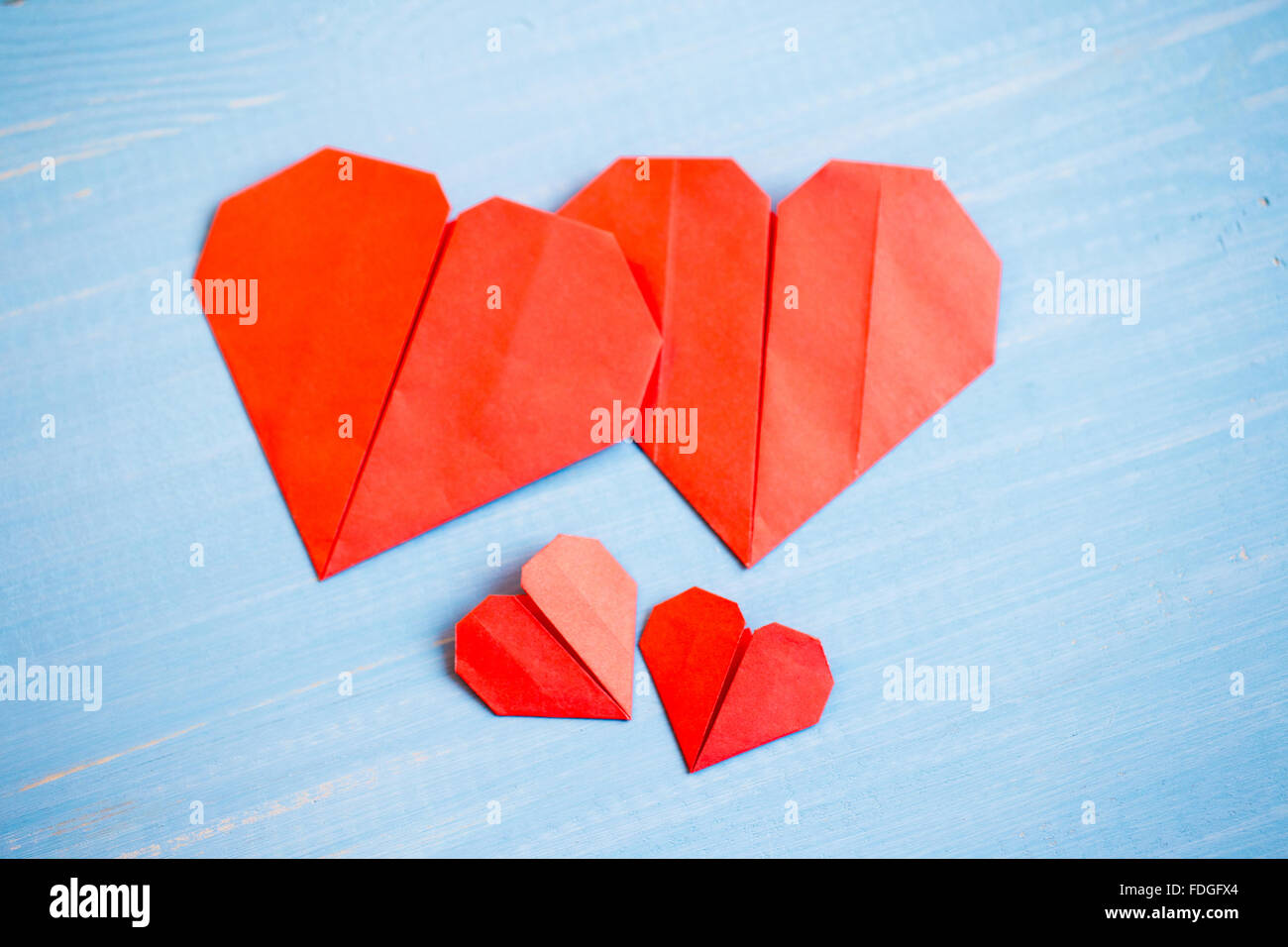 Family Prepared Valentines Day Origami Stock Photos Family