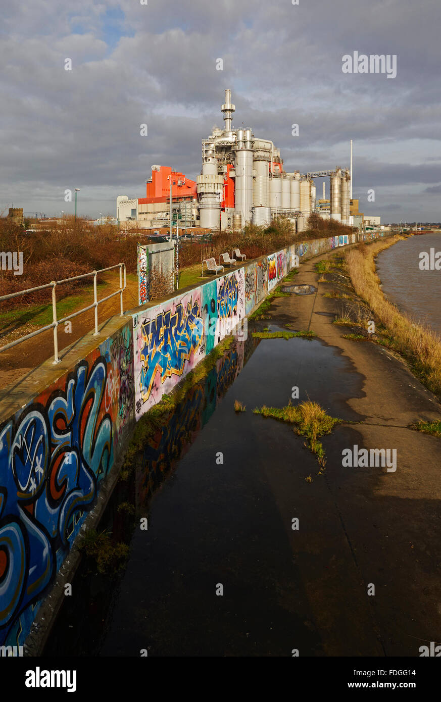 Procter & Gamble plant West Thurrock with graffiti covered wall on the river Thames near the Dartford crossing - Stock Image