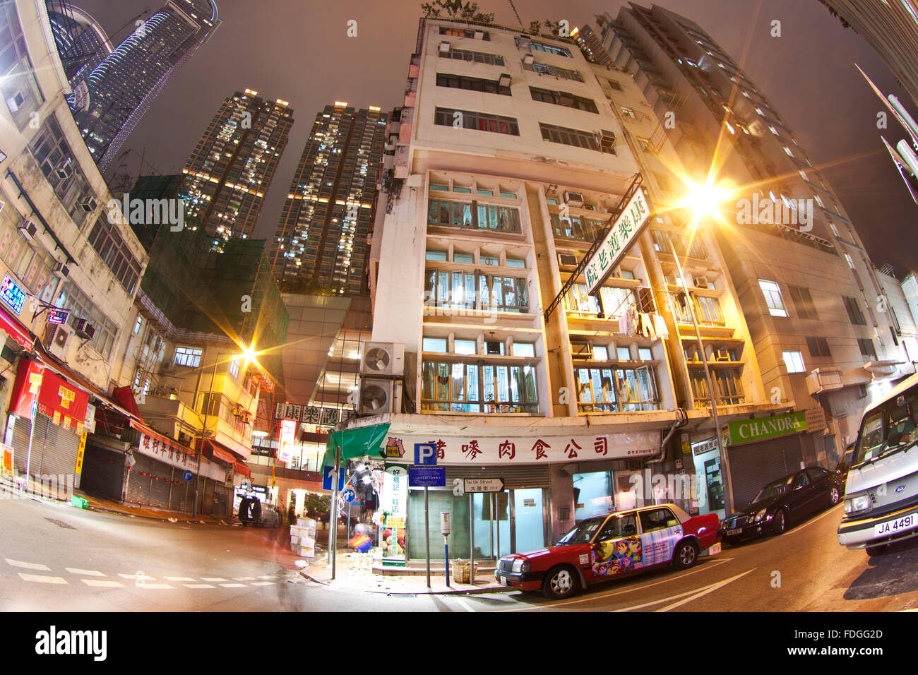 HONG KONG - JAN 27, Hong Kong downtown at night in Tsuen Wan, Hong Kong on 27 January, 2012. Stock Photo