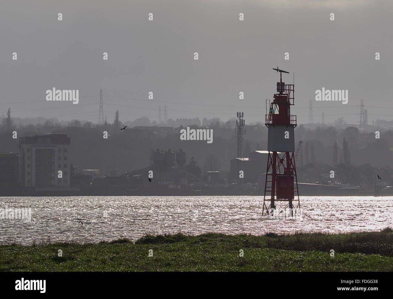 River Thames Stone Ness lighthouse West Thurrock near the Dartford crossing - Stock Image