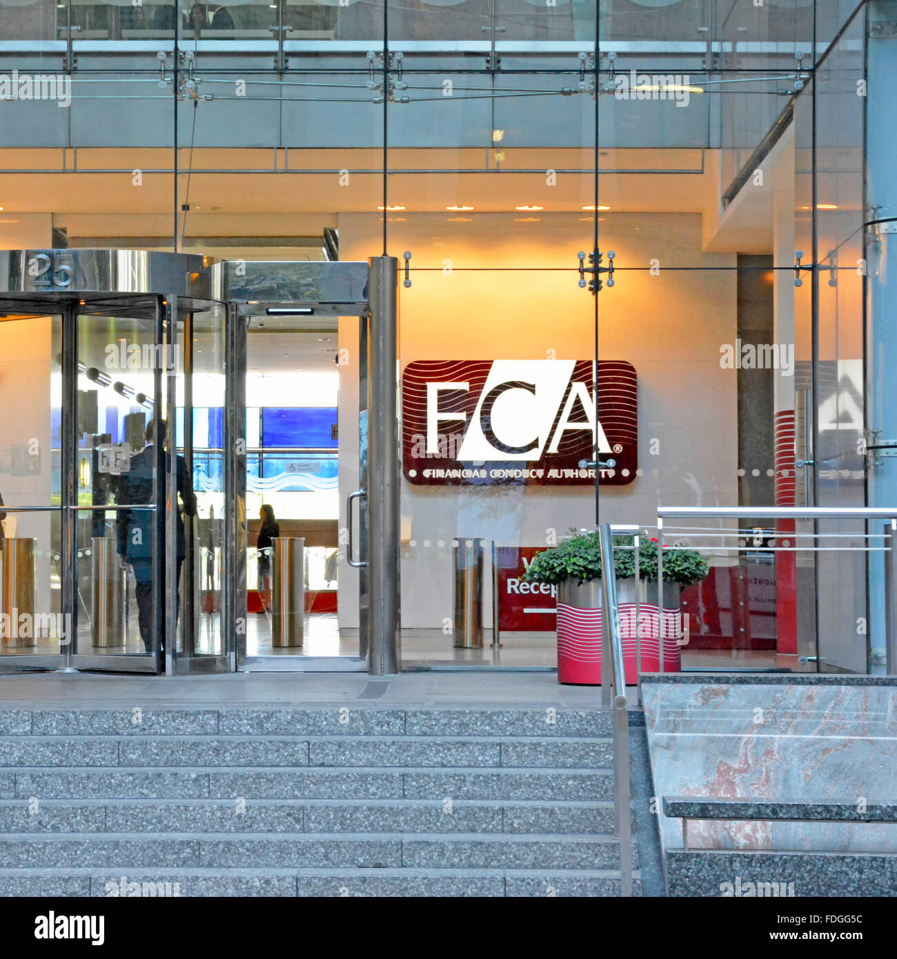 Financial Conduct Authority FCA London offices  entrance to Canary Wharf London headquarters building previously - Stock Image