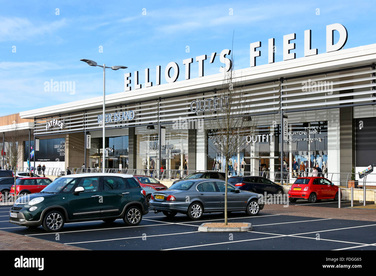 Retail Park shopping centre Elliotts Field with free car parking space in Rugby town Warwickshire England UK - Stock Image