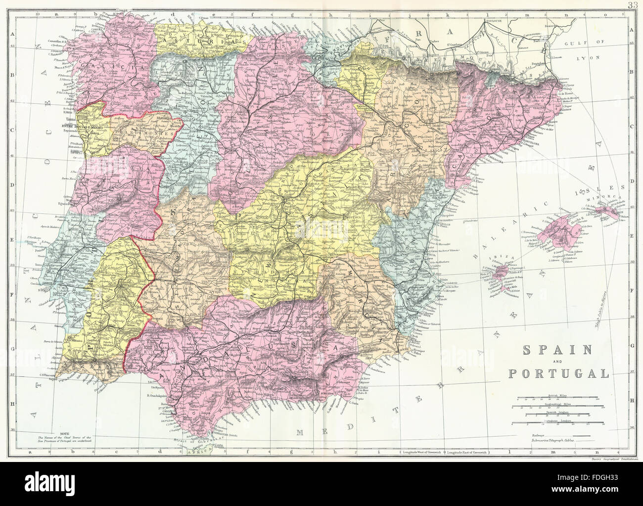 Iberia World Map.Iberia Spain And Portugal Bacon 1895 Antique Map Stock Photo