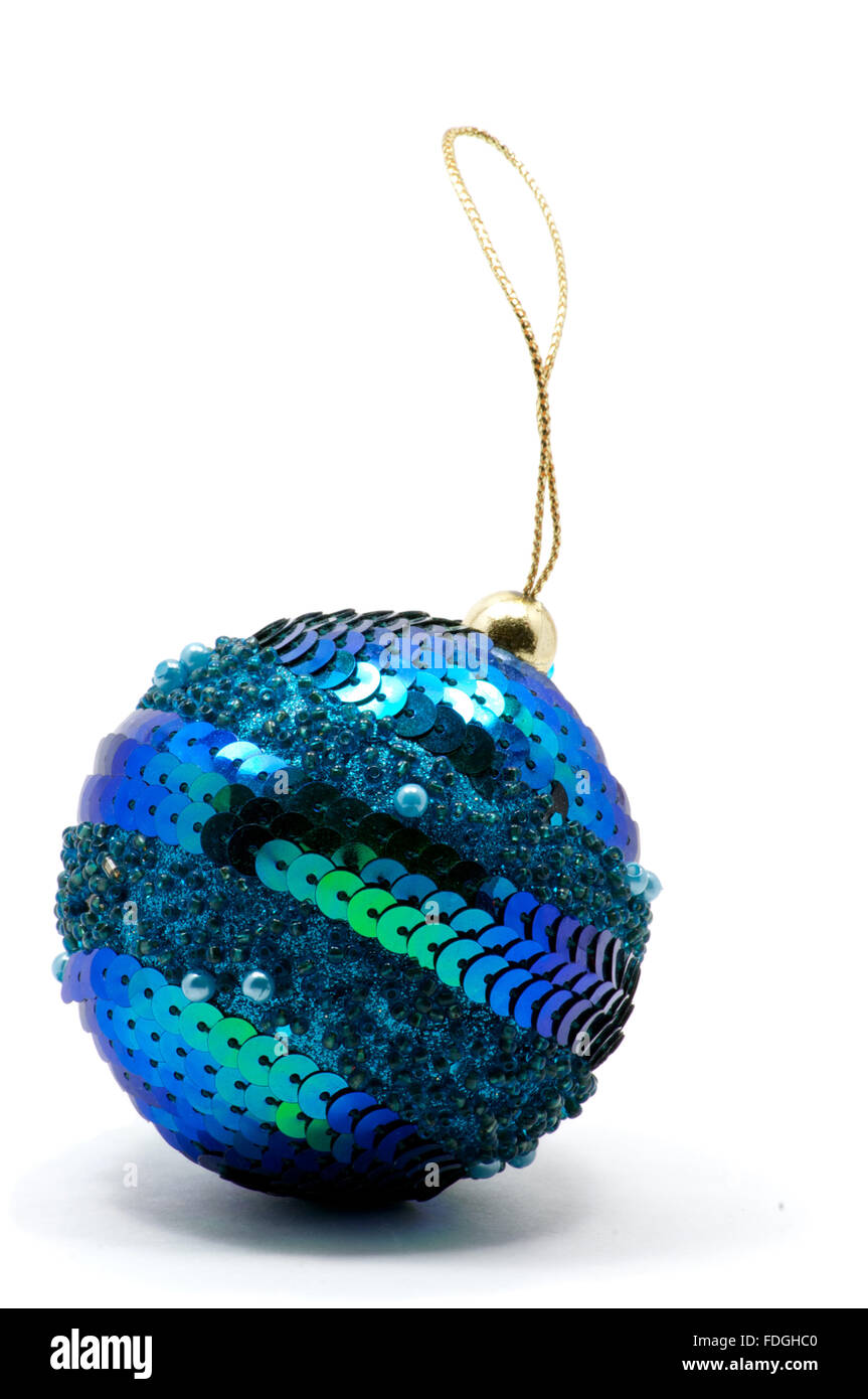 Isolated blue Christmas tree ball with glitters over white Stock Photo