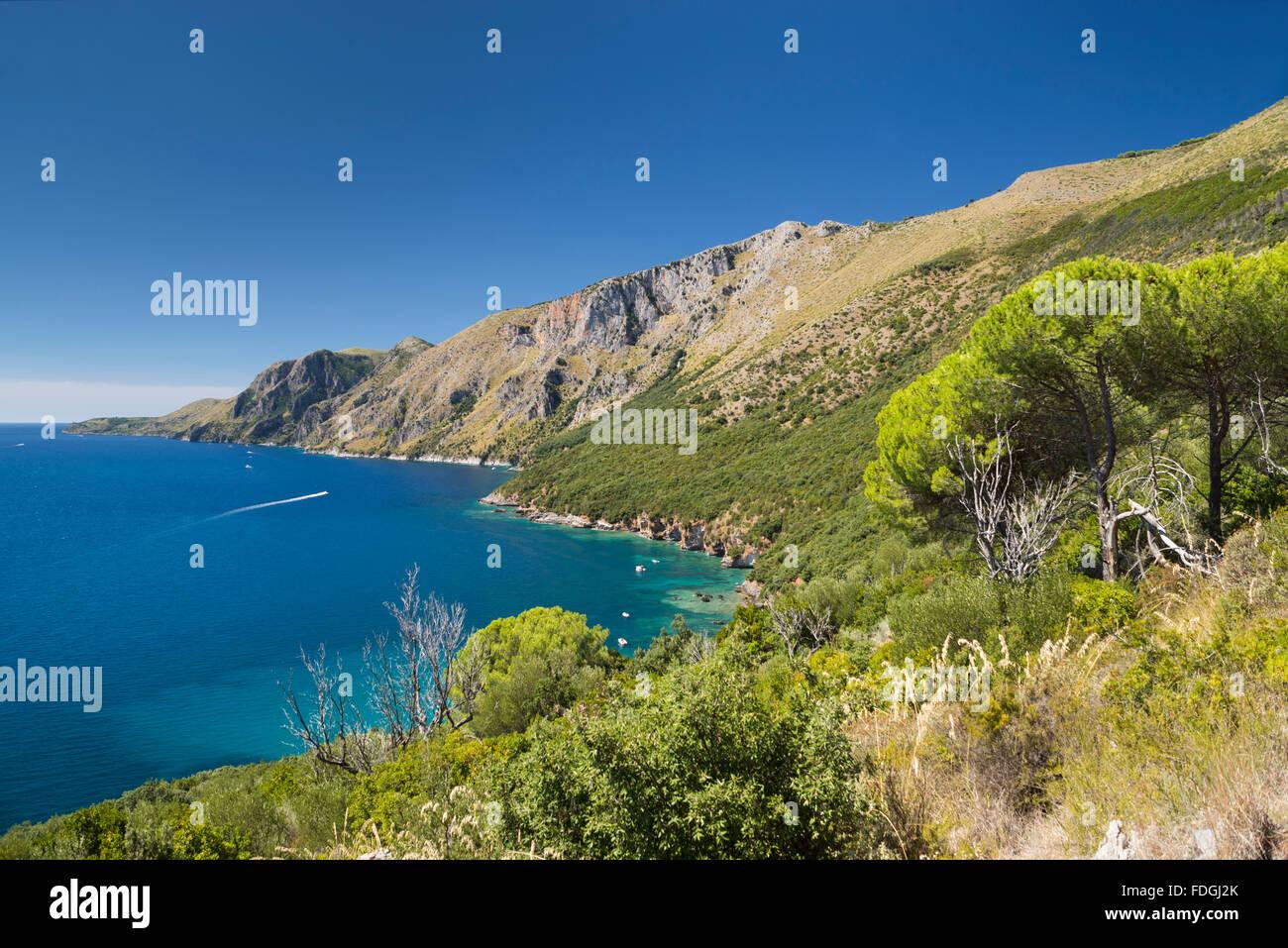 The wild coast Costa di Masseta between Scario and Marina di Camerota in southern Cilento, Campania, Italy - Stock Image