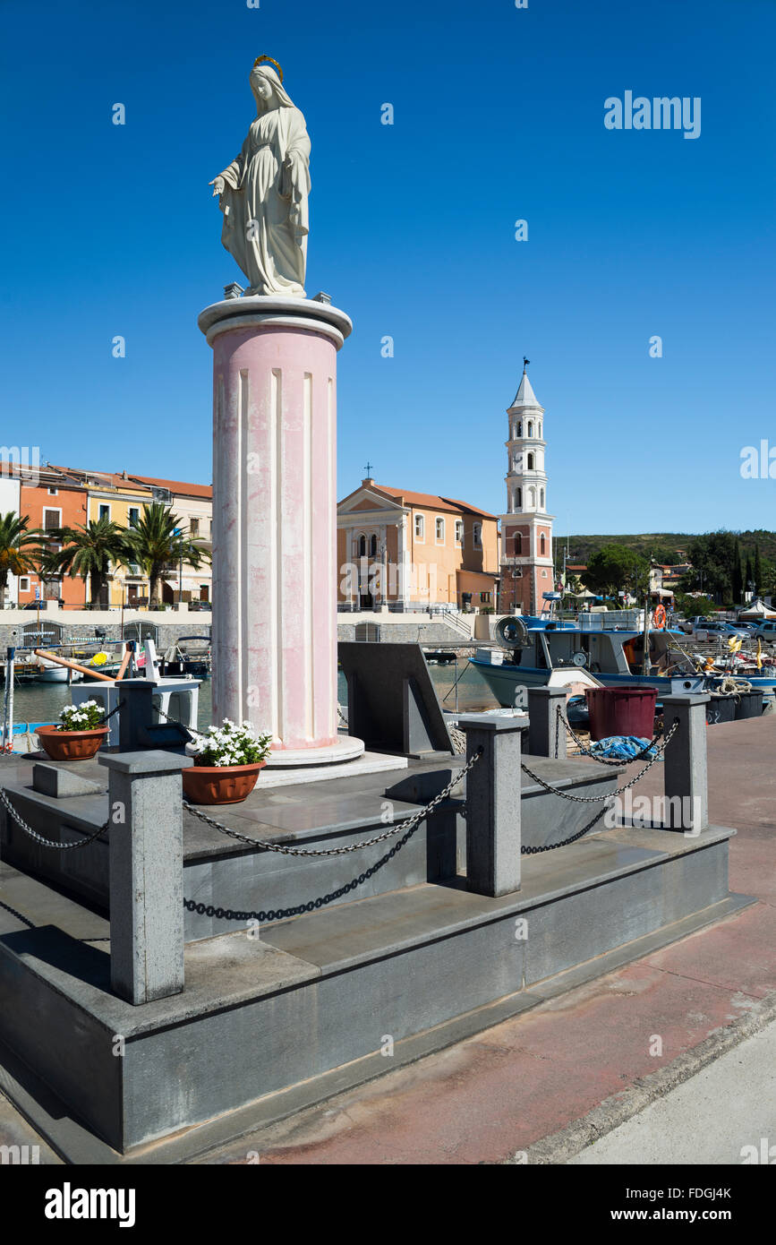 Virgin Mary statue in front of church and promenade in the port of Scario on the coast of Cilento, Campania, Italy - Stock Image