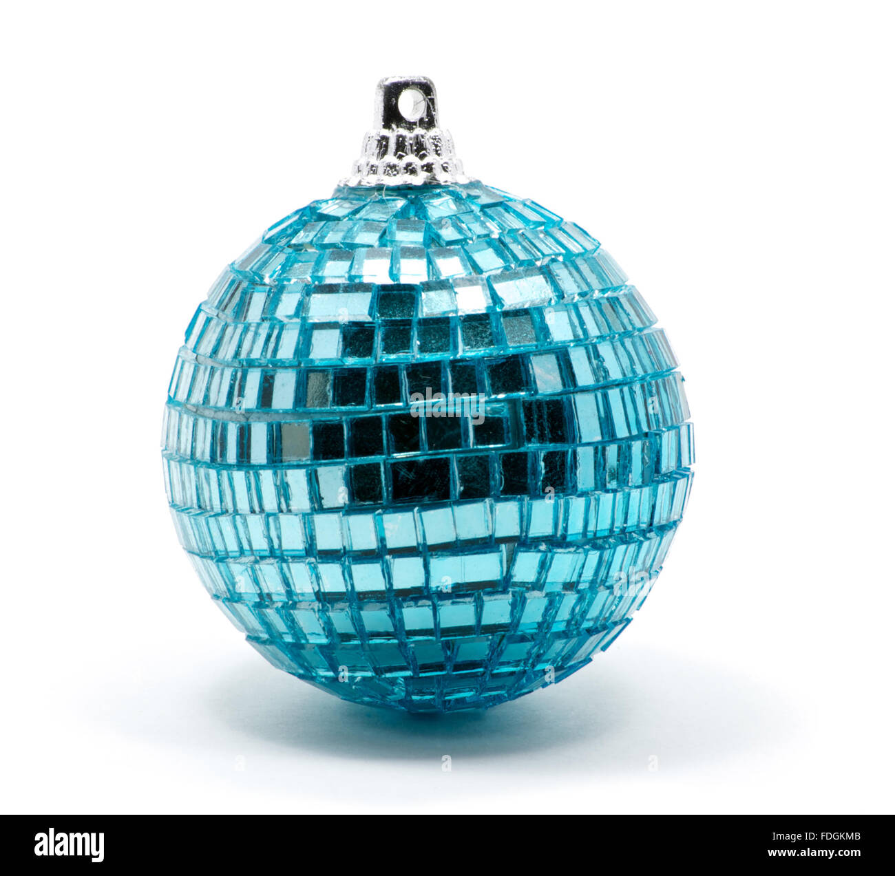 Isolated blue Christmas tree ball with glitters over white - Stock Image