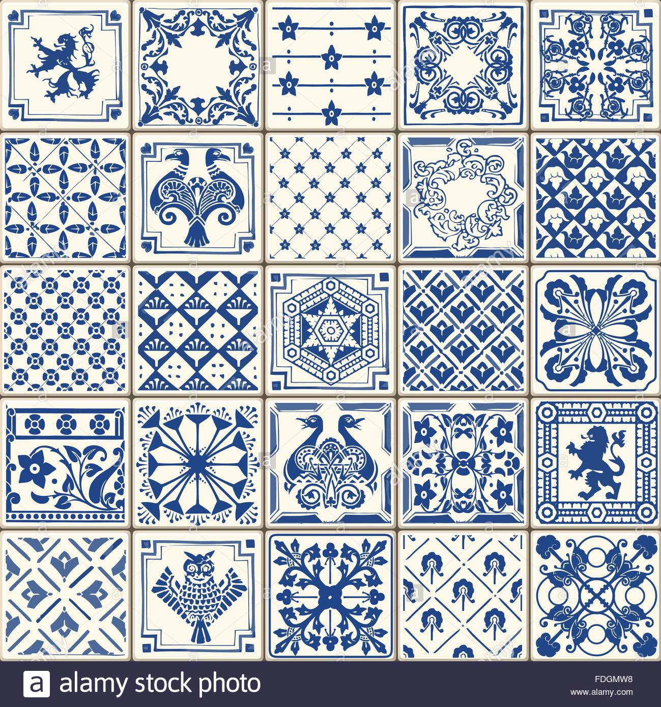 Indigo Blue Tiles Floor Ornament Collection. Gorgeous Seamless Stock ...