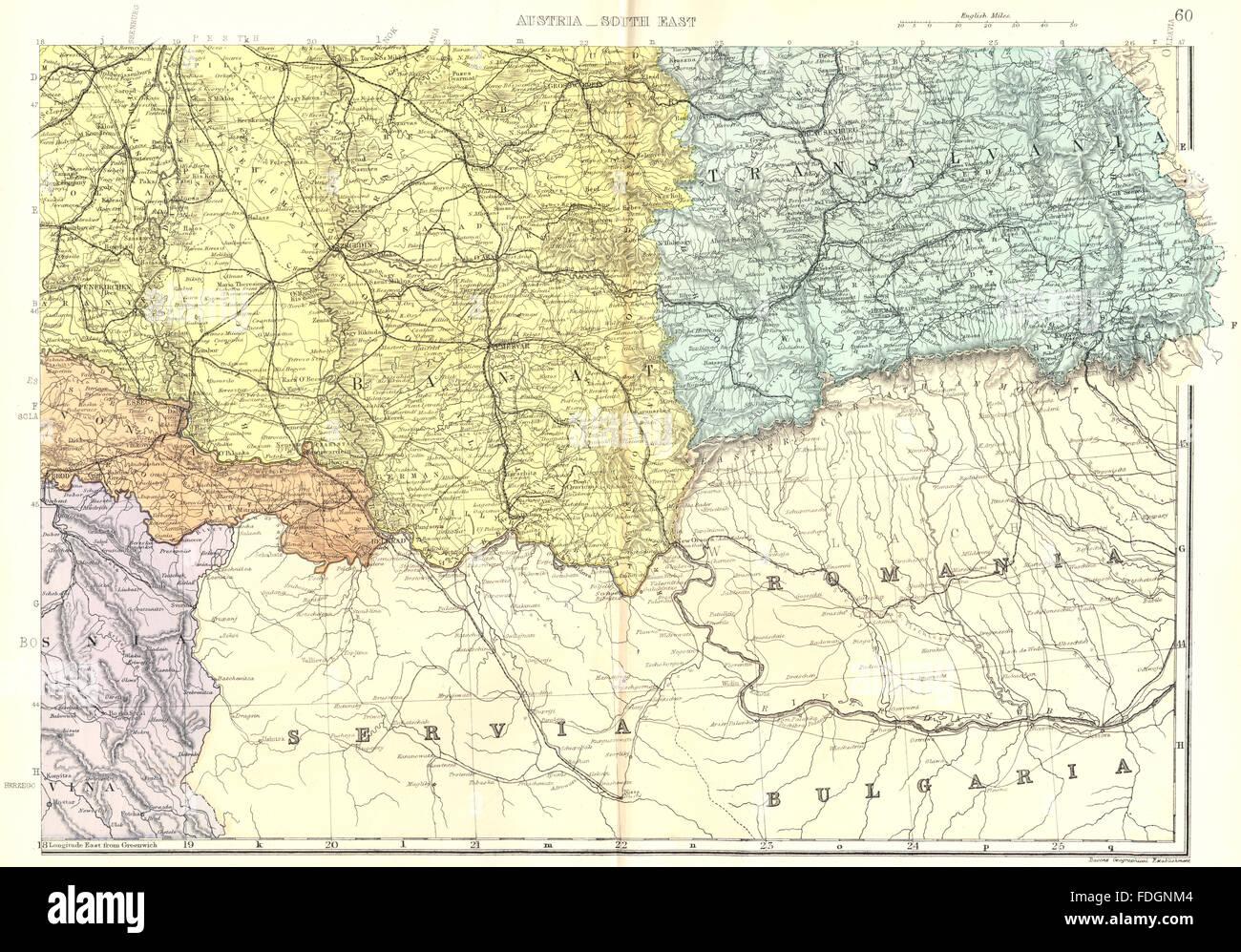 austria hungary se romania serbia hungary croatia transylvania bacon 1895 map