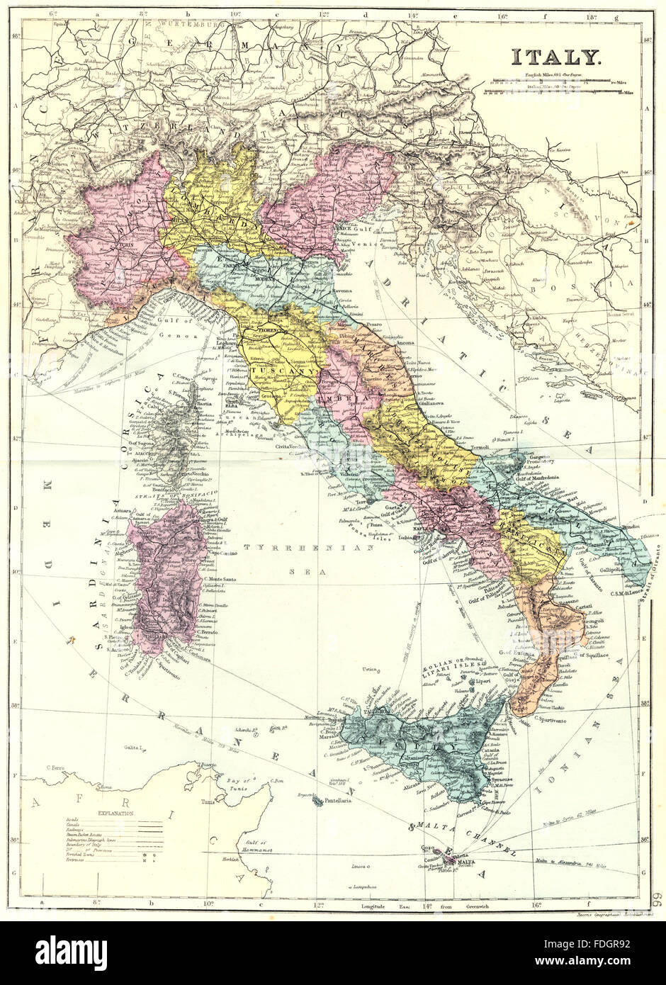 ITALY: Italy. Bacon, 1895 antique map - Stock Image