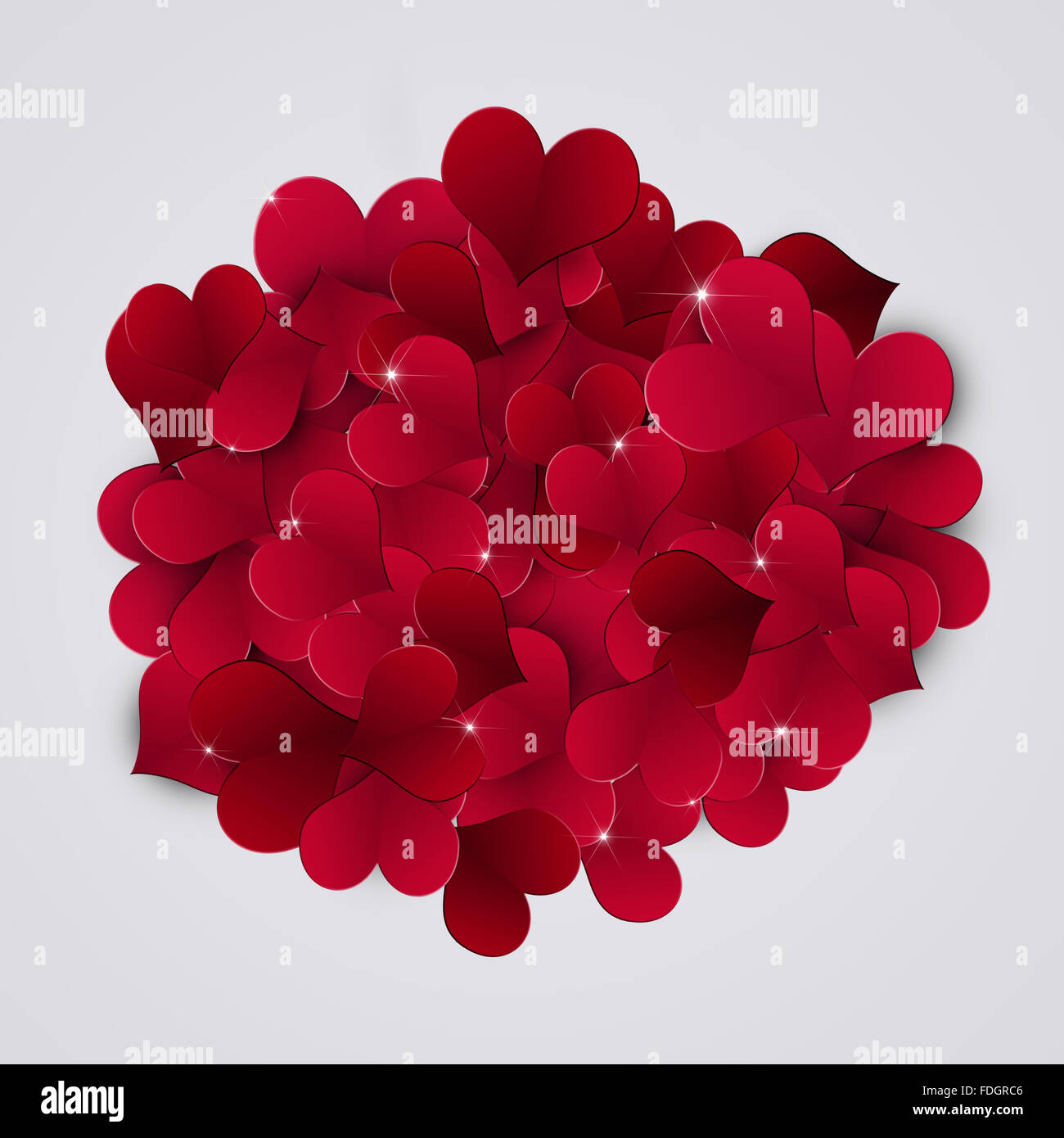 abstract heart valentine red background for gift cards - Stock Image