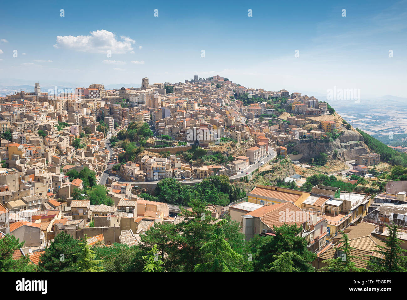 Sicily hill town, aerial view of the city of Enna, situated high on a hill in the middle of the island of Sicily. - Stock Image