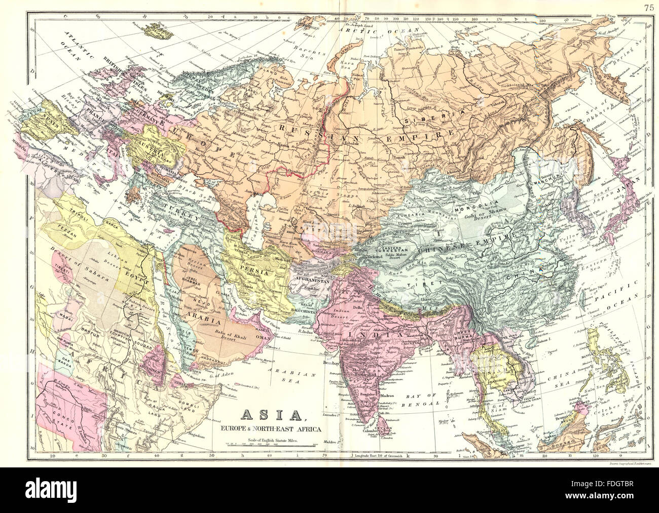 asia asiaeurope north east africa bacon 1895 antique map