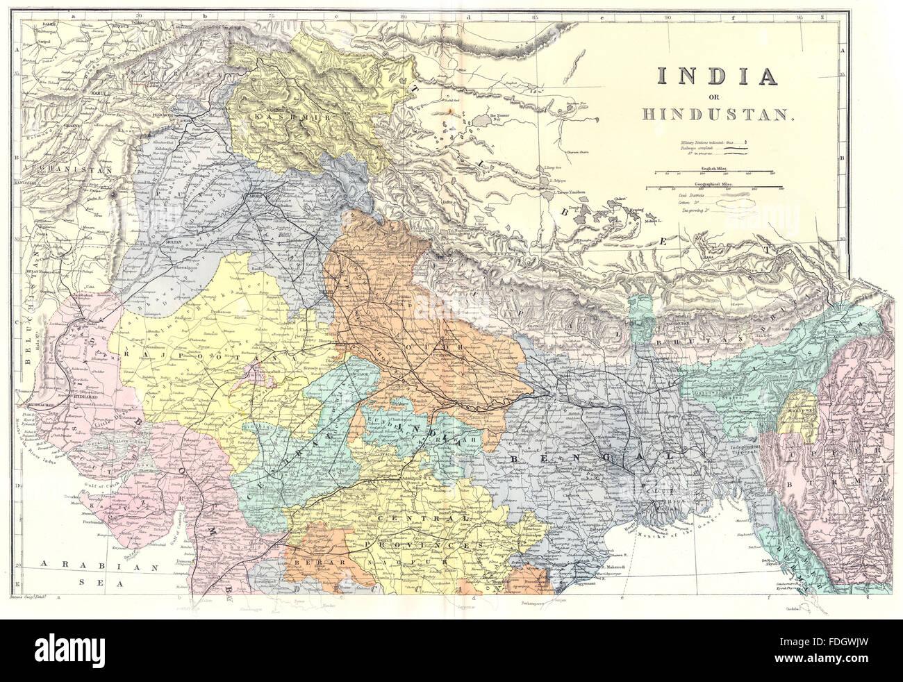INDIA North sheet: Hindustan. Bacon, 1895 antique map - Stock Image