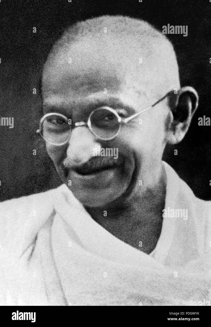 Mahatma Gandhi. Portrait of Mohandas Karamchand Gandhi, widely known as Mahatma Gandhi. Photograph most probably - Stock Image