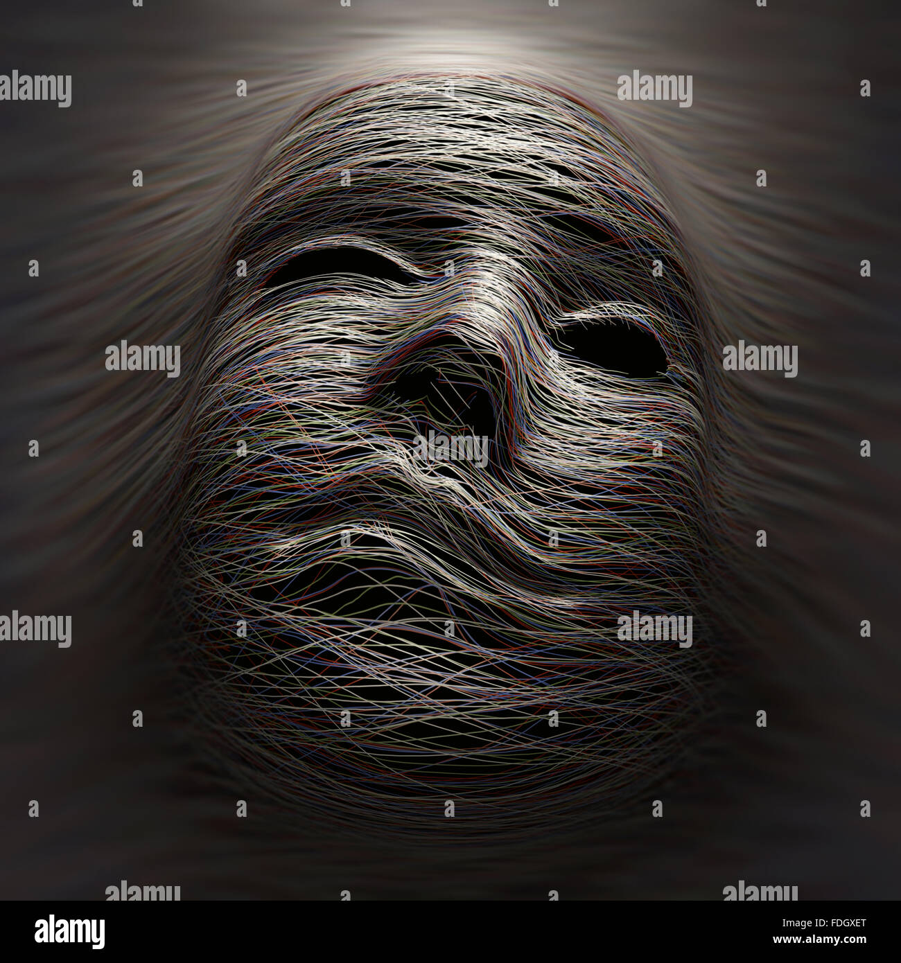 Colored lines covering an imaginary face with expression of pain and agony. - Stock Image