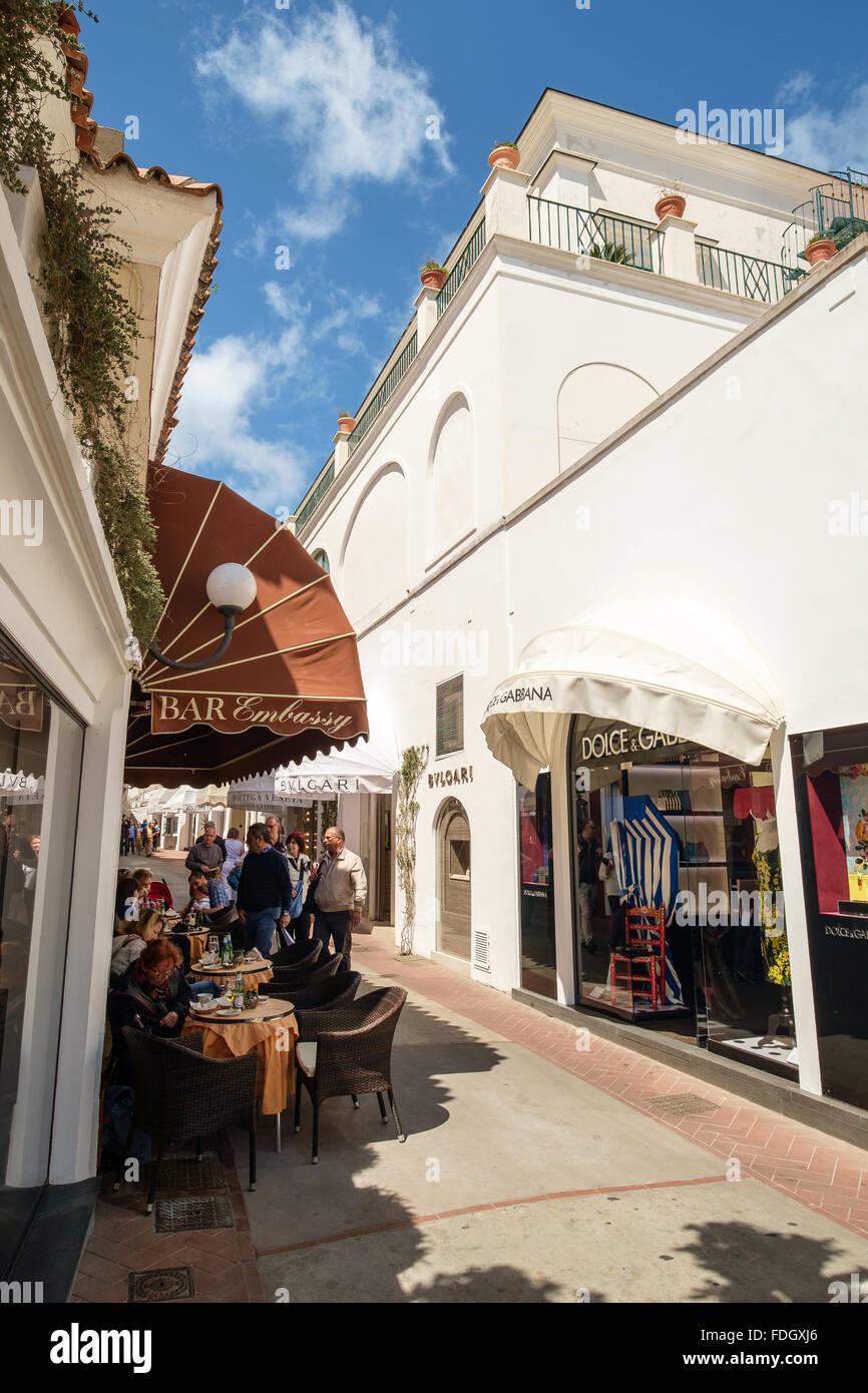 An upmarket shopping street in Capri, Italy - Stock Image