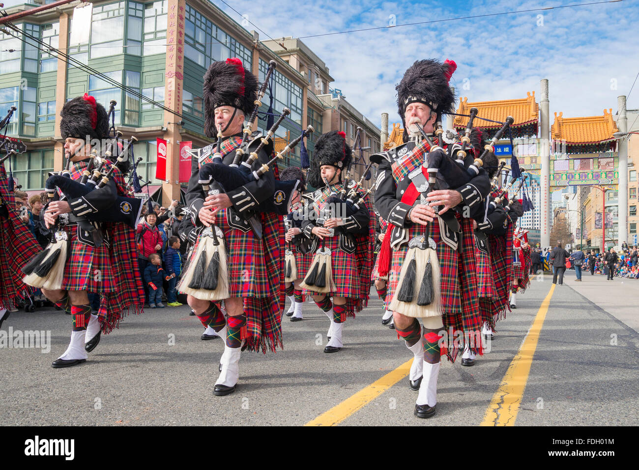 Police Pipe Band in Parade, Vancouver, British Columbia, Canada - Stock Image