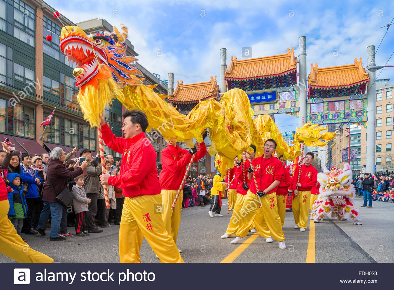 Chinese Dragon dance team, Chinese New Year Parade, Vancouver, British Columbia, Canada - Stock Image