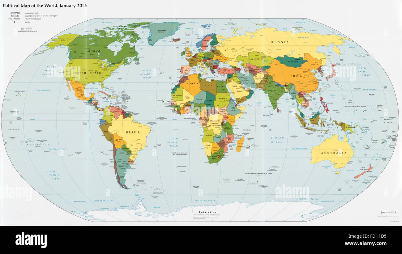 Political Map of the World in January 2015 - Stock Image