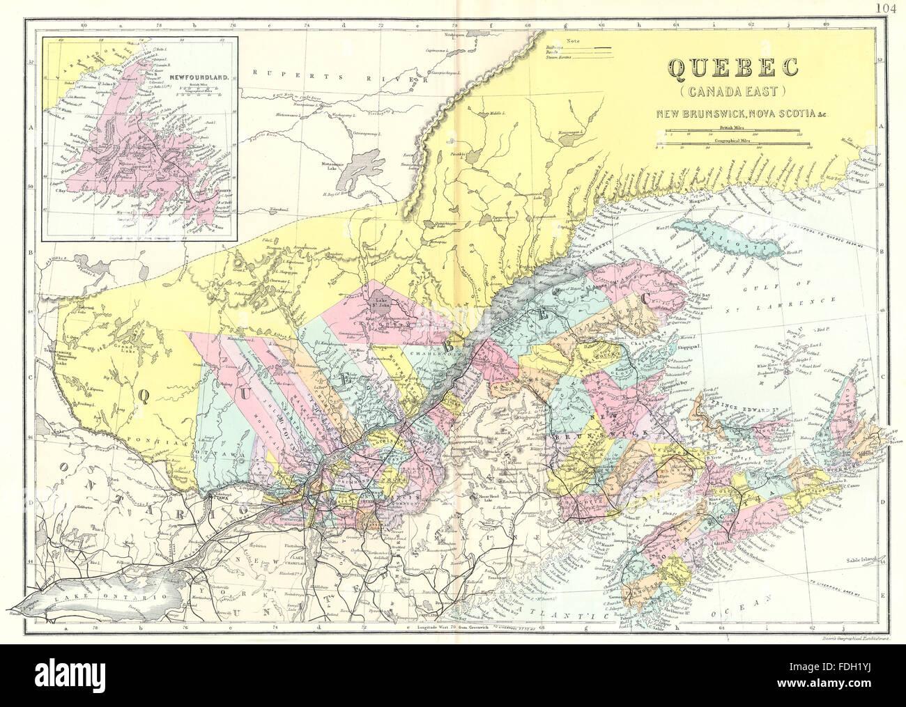 Map Of Canada East.Canada East Quebec New Brunswick Nova Scotia Newfoundland Bacon
