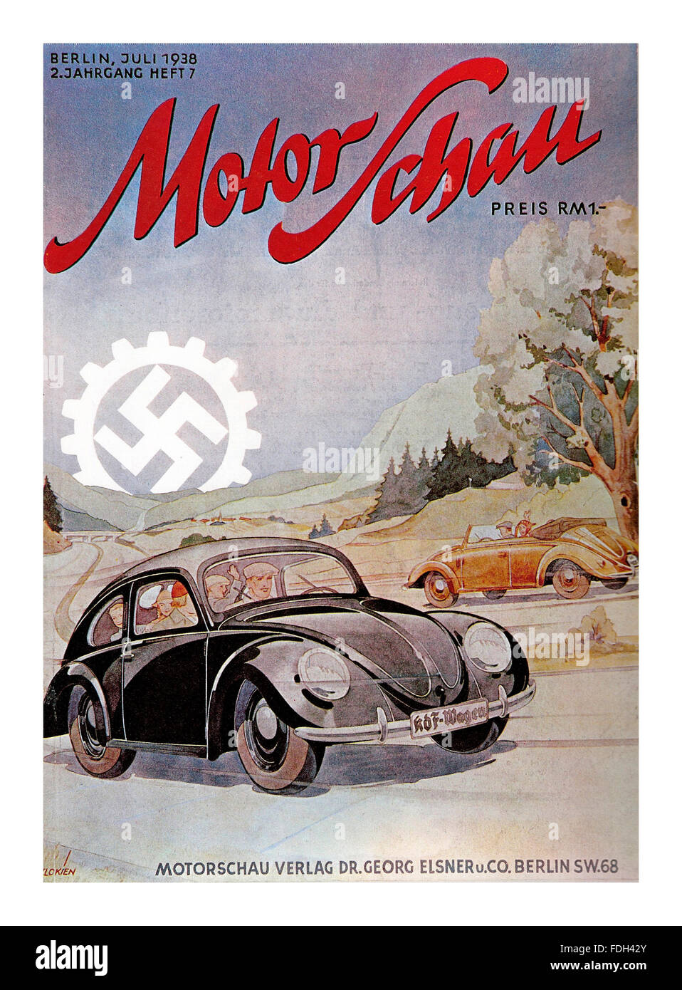 VOLKSWAGEN SWASTIKA HITLER Motor Show magazine cover Berlin Germany 1938 with Volkswagen cars and mechanised Swastika - Stock Image