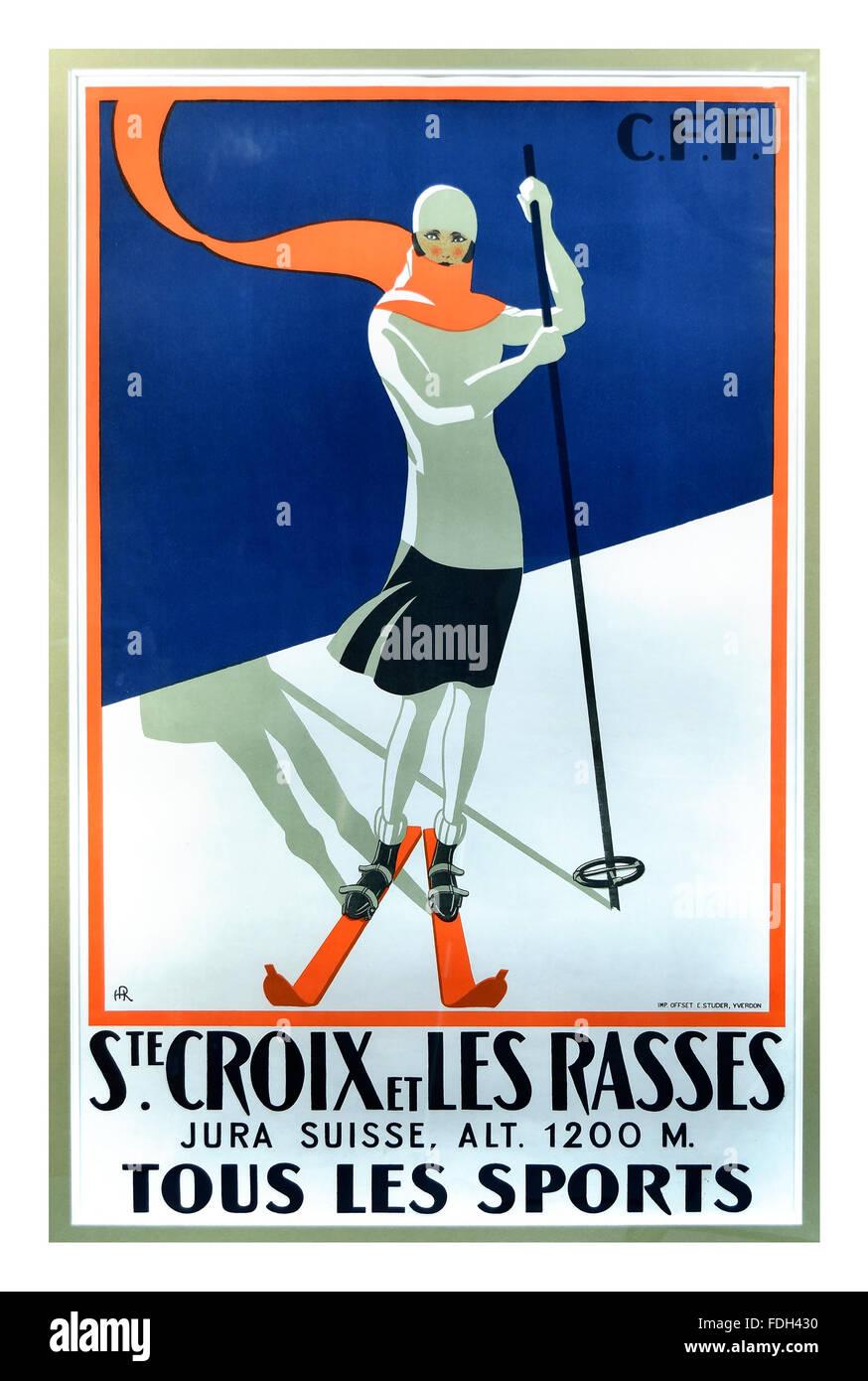 1930's Vintage ski-ing poster Ste.Croix et Les Rasses Suisse train travel poster CFF Jura Switzerland - Stock Image