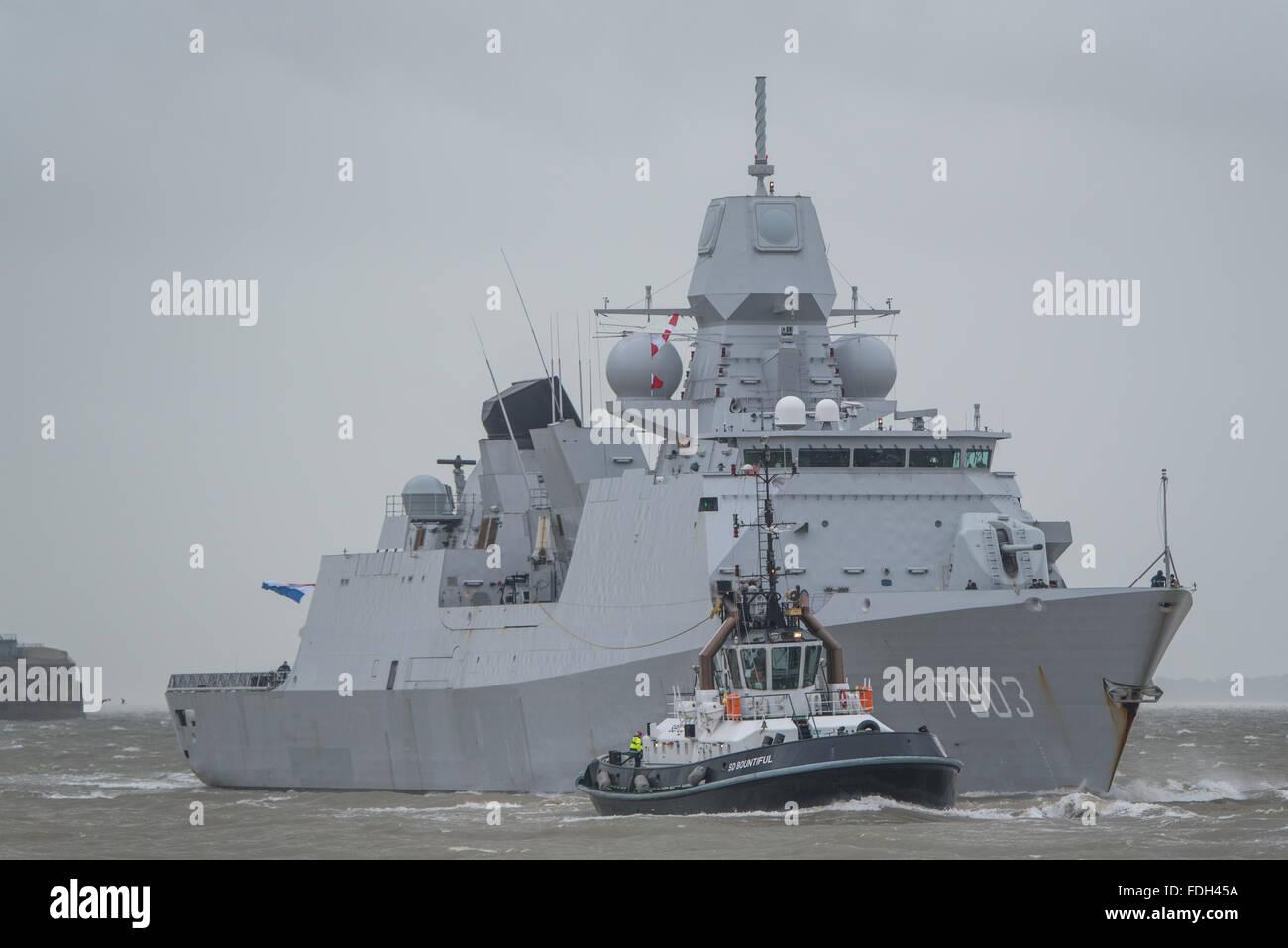 The Dutch Navy (Koninklijke Marine) frigate HNLMS Tromp (F803) arriving at Portsmouth, UK on the 29th January 2016. - Stock Image