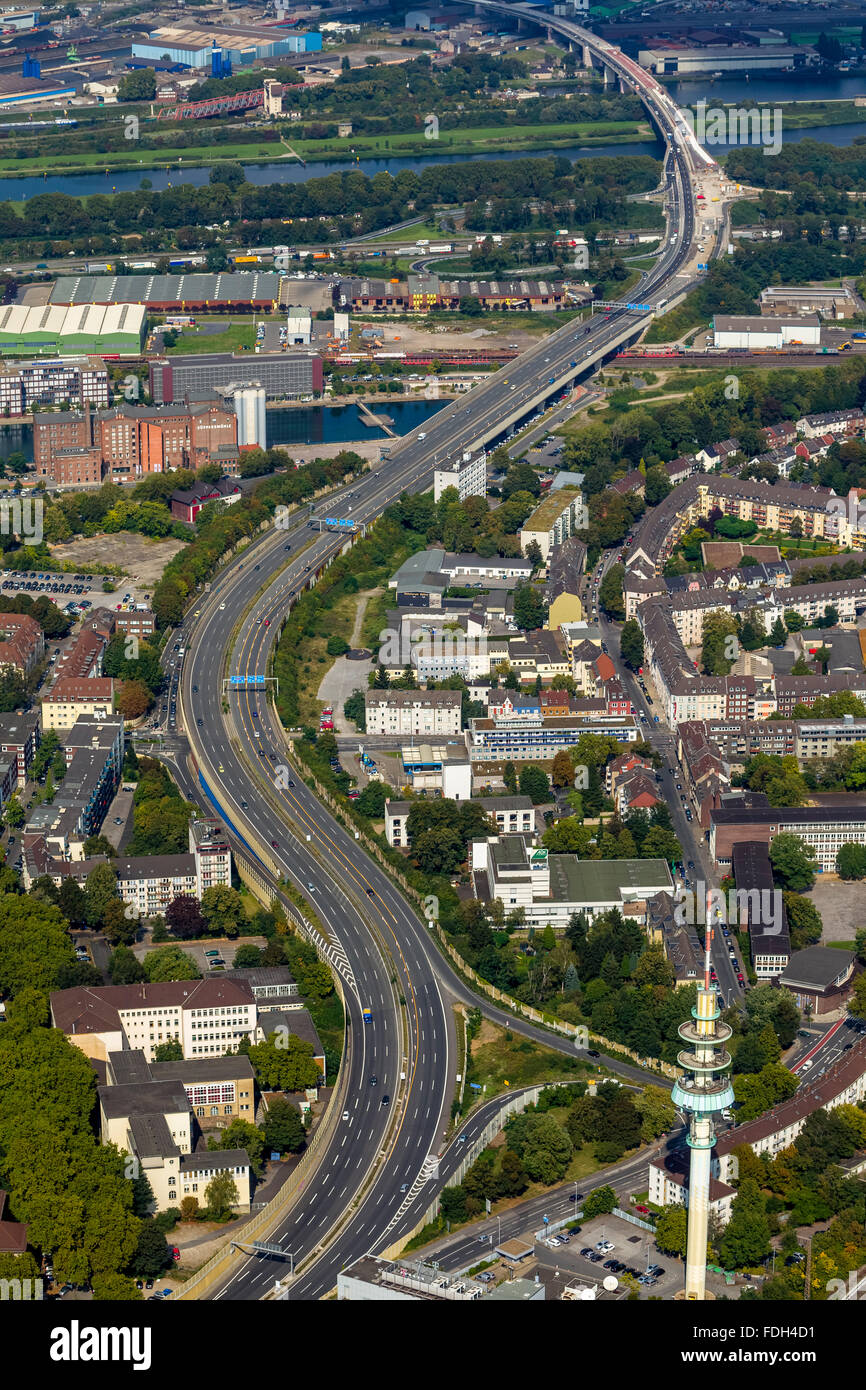 Aerial view, expansion and extension A59 A59, blocking, repair the highway, remediation, infrastructure, Duisburg, - Stock Image