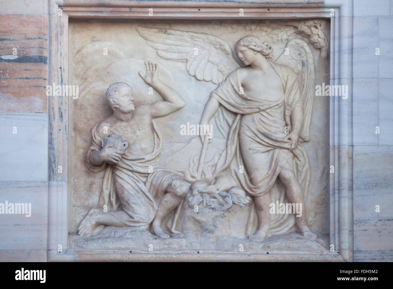 Gideon being called by God to deliver Israel from the Midianites. Marble relief (1797) by Italian sculptors Carlo - Stock Image