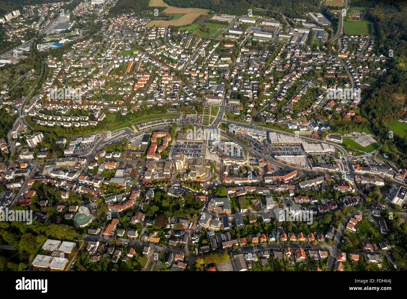 Aerial view, the city festival in Hemer, organized by the Cultural Office Tourist Office with the clubs and the - Stock Image