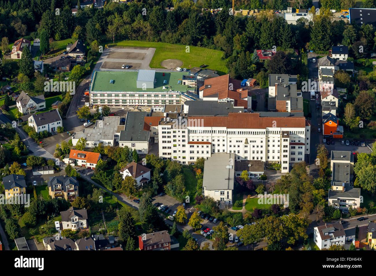 Aerial view, Lung Clinic Hemer, Hemer, Sauerland, North Rhine-Westphalia, Germany, Europe, Aerial view, birds-eyes - Stock Image