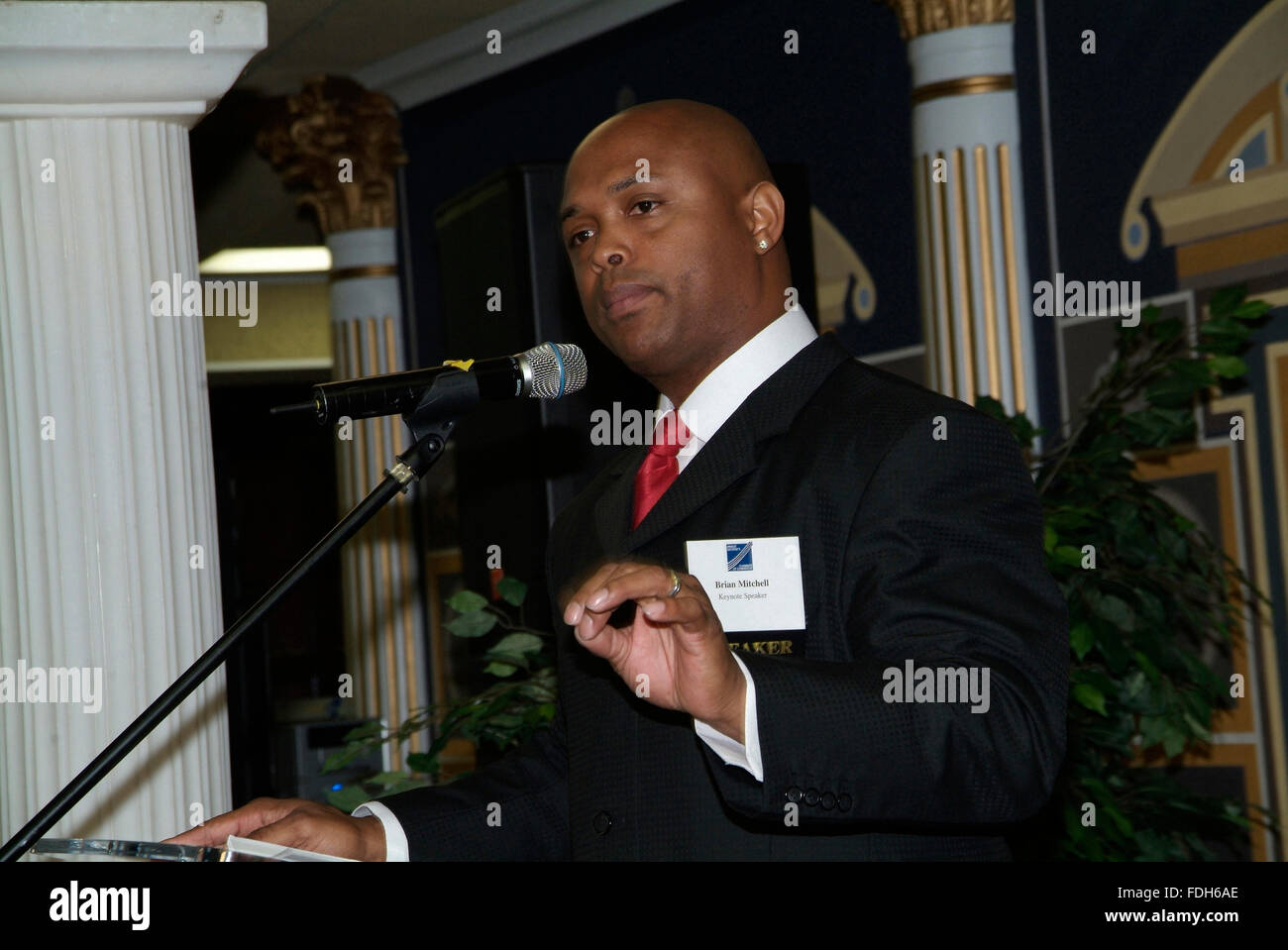 former NFL Football star ( formerly with Redskins and Giants ) and TV personality Brian Mitchell was the lkeynote - Stock Image