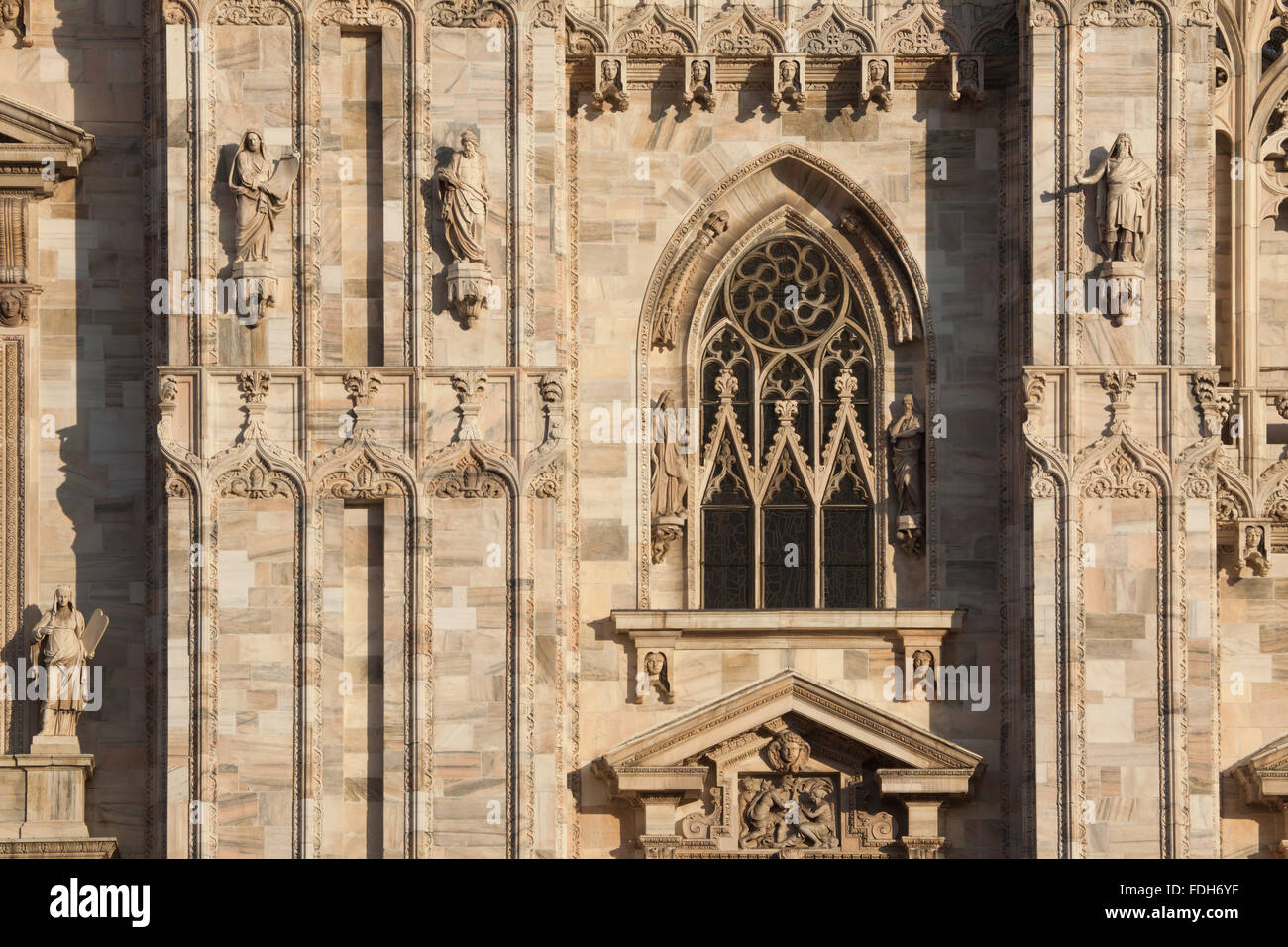 Detail of the main facade of the Milan Cathedral (Duomo di Milano) in Milan, Lombardy, Italy. - Stock Image