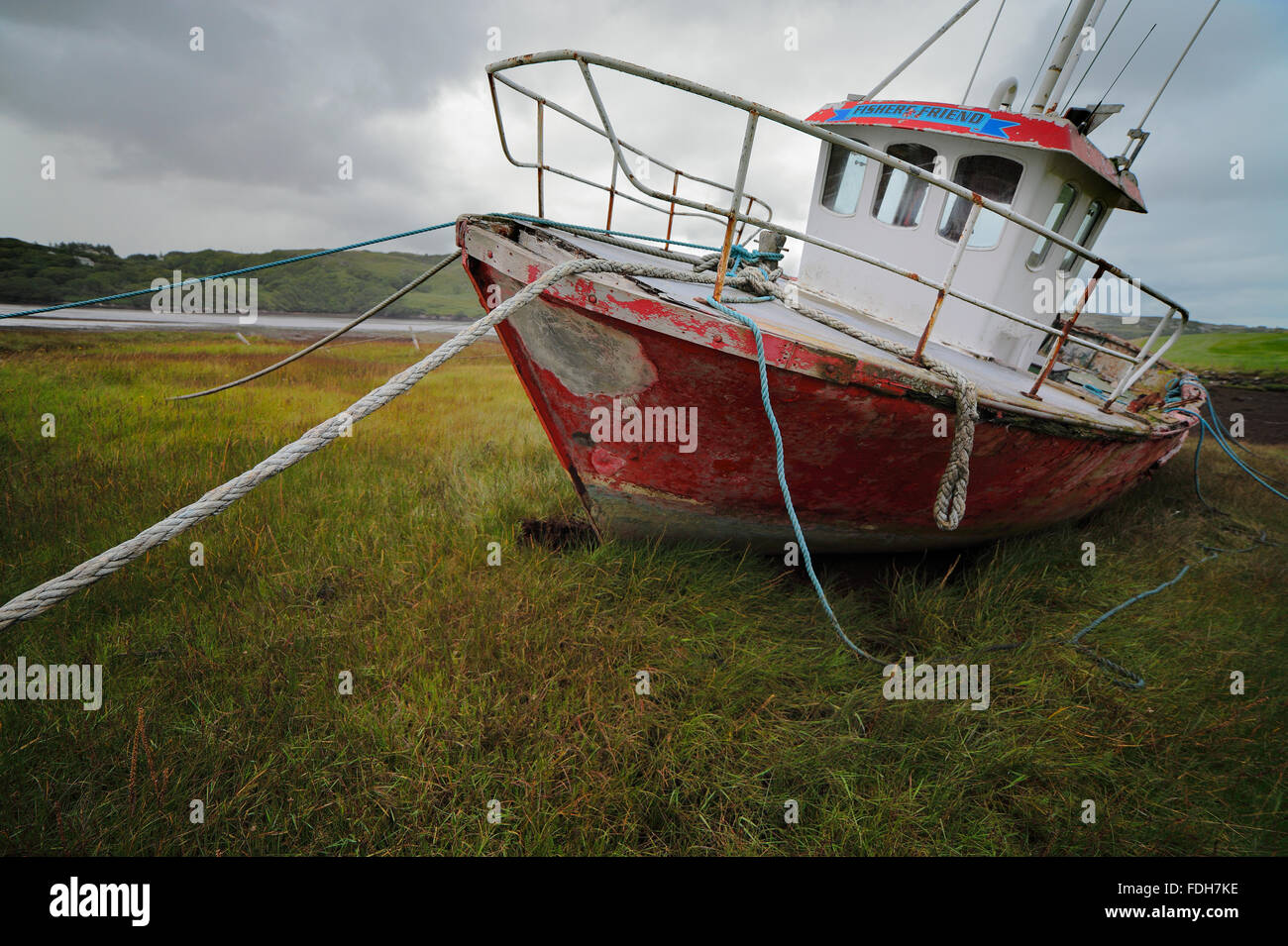 fishing boat in Teelin, County Donegal, Ireland - Stock Image