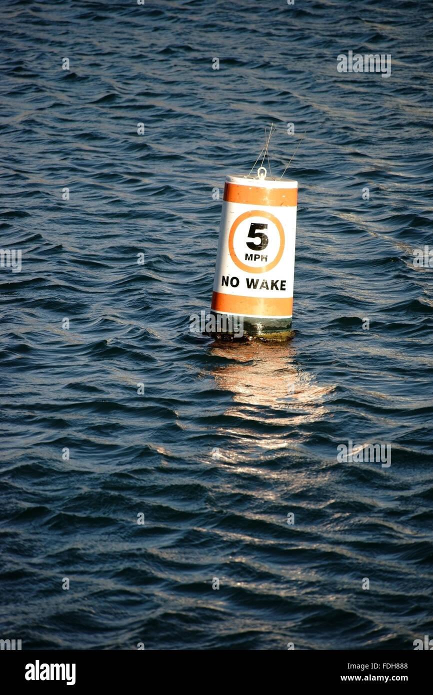 Signal buoy speed limit Stock Photo