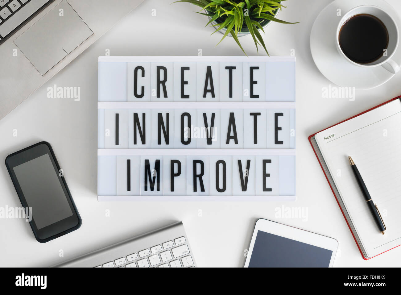 Create, innovate and improve - Stock Image