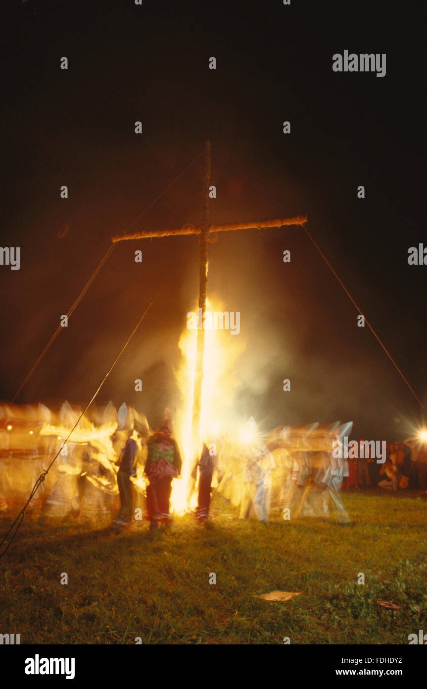 Braddock Heights, Maryland, USA, 29th June,1980. Ku Klux Klan cross burning rally June 29, 1980 in Braddock Heights - Stock Image
