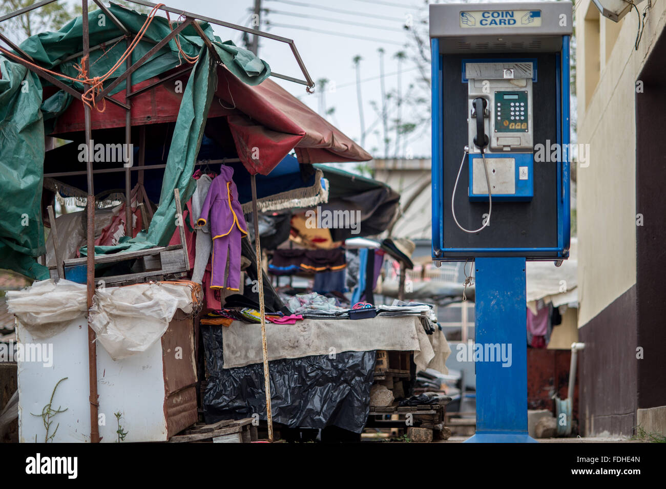 Payphone at the Manzini Wholesale Produce and Craft Market in Swaziland, Africa - Stock Image