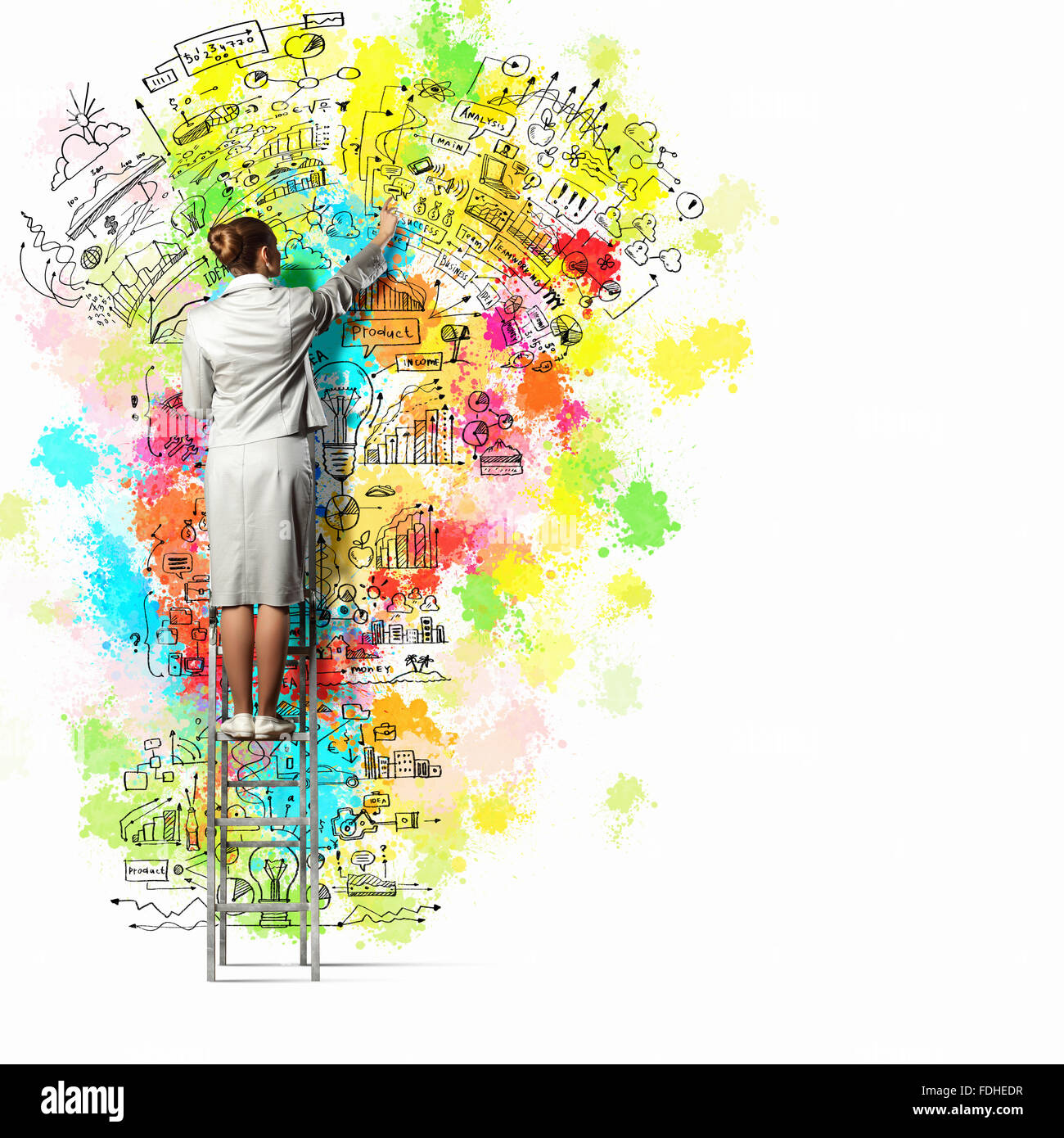 Back View Of Businesswoman Drawing Colorful Business Ideas On Wall