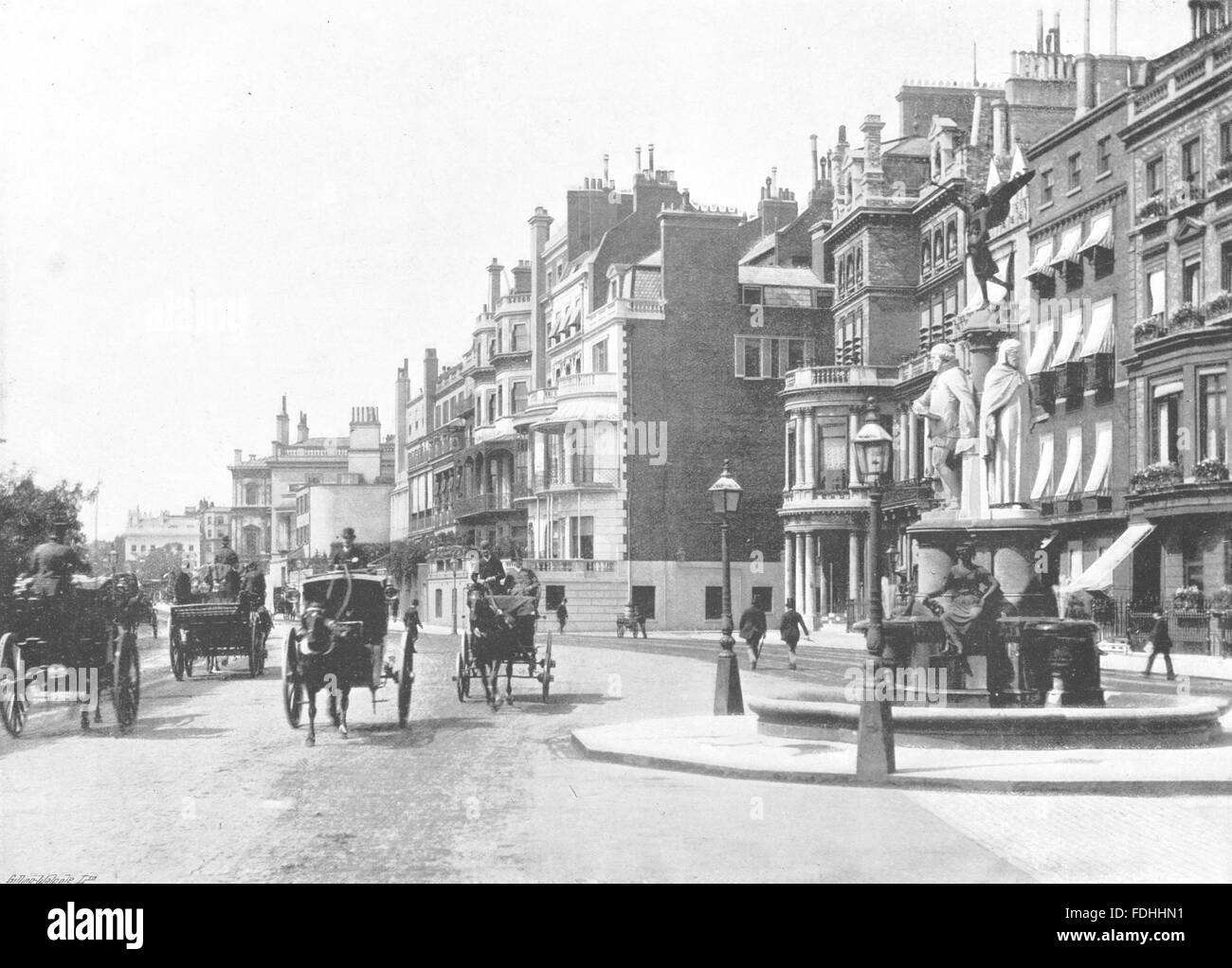 London Park Lane Looking North From Hamilton Place Antique Print Stock Photo Alamy