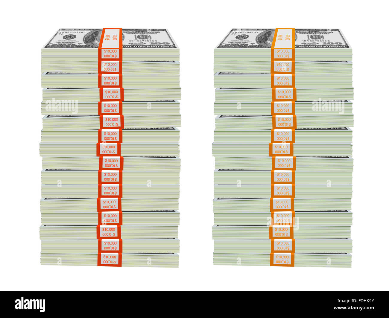 Stacks of Hundred Dollar Bills in Bundles (Isolated) - Stock Image