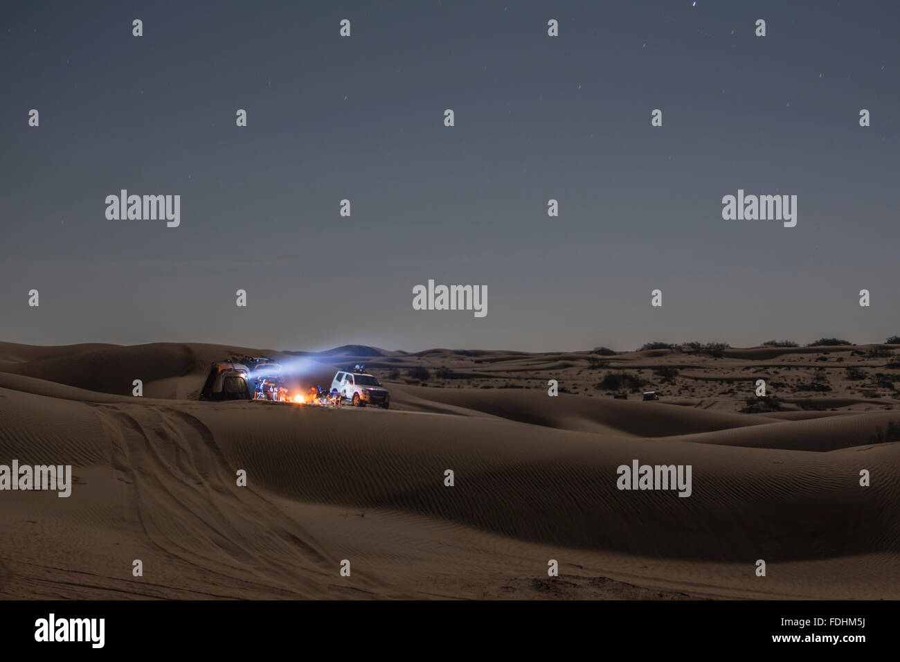 Camping in the Desert of Wahiba Sands - Stock Image